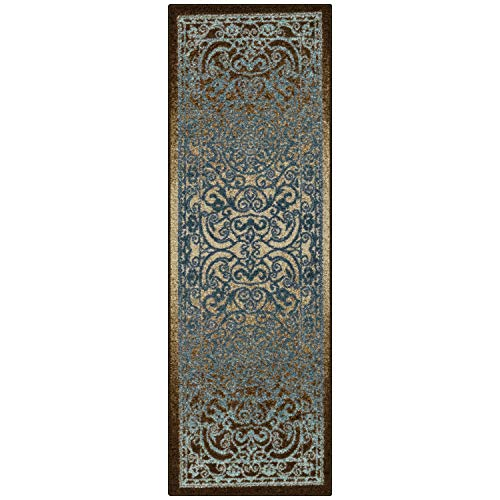 Maples Rugs Pelham Vintage Runner Rug Non Slip Hallway Entry Carpet [Made in USA], 2 x 6, Blue/Walnut