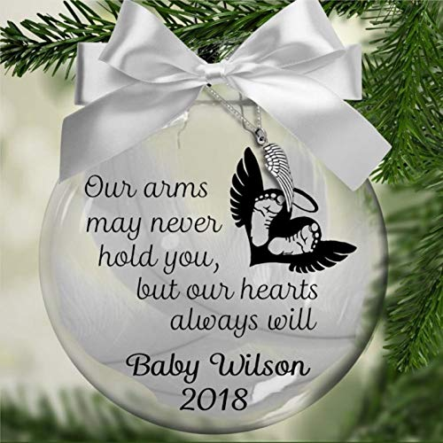Personalized Our Arms May Never Hold You Acrylic Christmas Ball Ornament,miscarriage child loss pregnancy Christmas Bauble Tree Ornament with presents for Church Members ,Holiday ,Family & Friends.