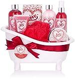 BRUBAKER Cosmetics Set bagno e doccia Love - con profumo di fiori di ciliegio - set regalo da 8 pezzi in vasca decorativa