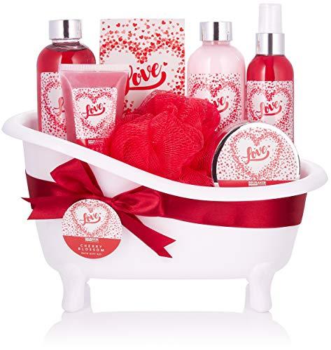BRUBAKER Cosmetics Bade- und Dusch Set Love - Kirschblüte - 8-teiliges Geschenkset in dekorativer Wanne