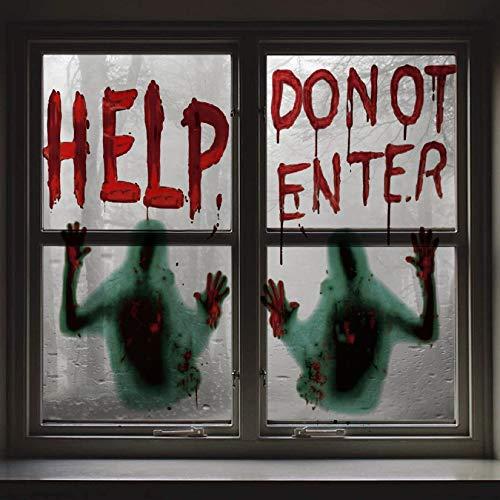 Voqeen Halloween Aufkleber Fenster Sticker Halloween Party Dekoration Realistisch Schaurig Blutige Horror Deko Fensterbilder Wandaufkleber für Fenster Spiegel Spukhäuser Badewanne