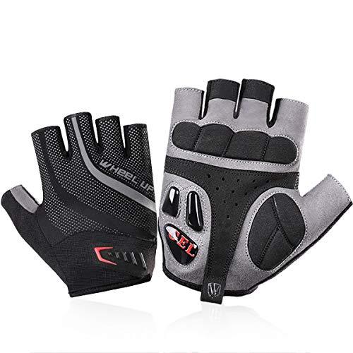 WHEEL UP Fahrrad-Handschuhe für Mountainbike, Gel-Flüssig-Silikon, halbe Finger, stoßdämpfend, SBR Pad, Anti-Rutsch-Handschuhe, MTB Handschuhe, Herren, Liquid Gel, X-Large