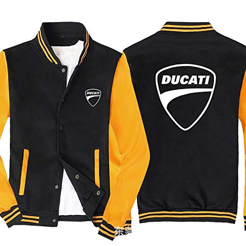 Männer Pullover Jacke - Ducati Printed Sweatshirt Baseball-Trikot Langarm-Zip Trainingsjacken - Teen Gift Black Yellow-L