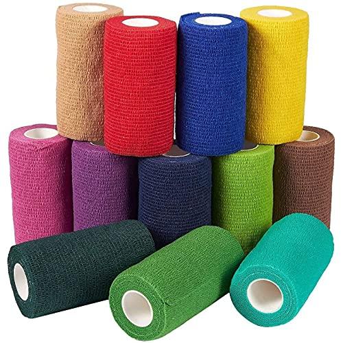 Self Adhesive Bandage Wrap Cohesive Vet Wrap (4 inch x 5 yards, 12 Pack)