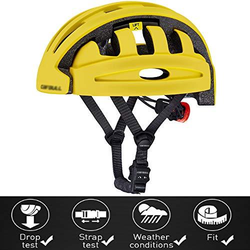 YWZQ Casco de Ciclista, Plegable portátil de la Ciudad Camino de la Bicicleta Casco Equilibrio del Coche eléctrico del Casco del Coche,Amarillo