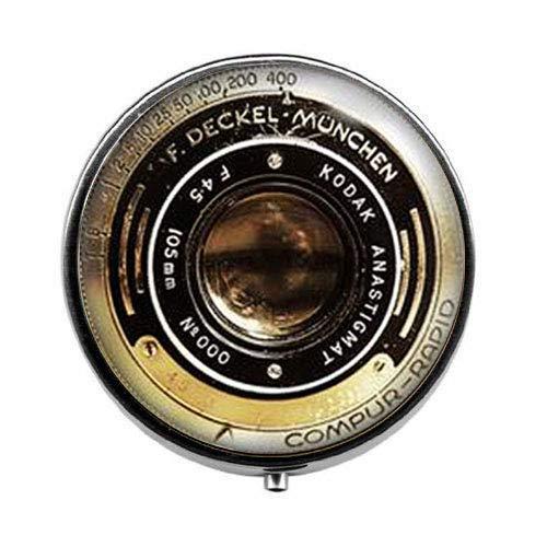 Pastillero para cámara vintage, caja de caramelos, joyería para lente de cámara, joyería para cámara antigua, joyería de arte para fotos de cristal