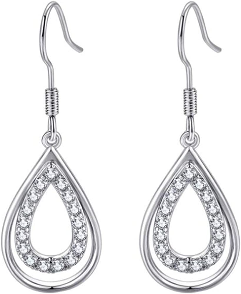 Silver Recommended Rose Gold Plated Directly managed store Water Drop Cubic Tear Dangl Zircon Style