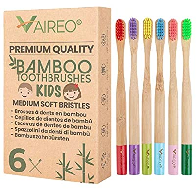 Vaireo Kids Bamboo Toothbrushes Eco Friendly Wooden Safe Colorful Biodegradable Non Plastic Recyclable Sustainable Pack of 6