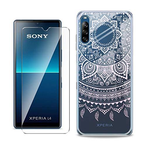 SCDMY Handyhülle für Sony Xperia L4 Hülle + Panzerglas displayfolie,Weich Transparent Schutzhülle, Starker Schutz Silikon Case TPU Schale Panzerglas für Sony Xperia L4 (6.2