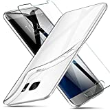 AROYI Coque Samsung Galaxy S7 Transparente + écran Protecteur Souple Silicone Étui Protection Bumper Housse Clair Doux TPU Gel...
