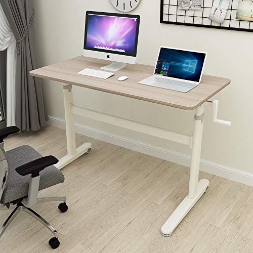 Height Adjustable Standing Desk- Adjustable Computer Desk, Sit Stand Desk Frame & Top, Manual Stand Up Desk, Great for Office & Home Use, 48 x 24 Inches [120 x 60 cm] White
