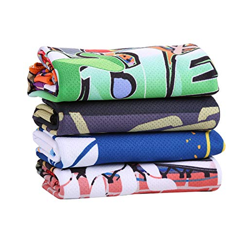 Graphic Design Cooling Towel for Sports, Workout, Tennis, Golf, Fitness, Gym, Yoga, Pilates, Travel, Camping (Set-of-4)