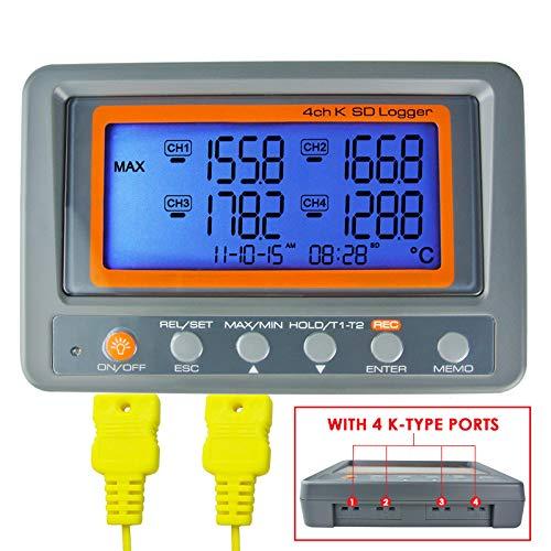 4 Kanal K Typ Thermometer SD-Karte Datalogger Thermoelementtemperatur mit Piepser und LED-Alarm + 2 K-Thermoelement-Sonde