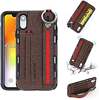 SHUANGRUIYUAN Wrist Band Canvas Cloth Texture Shockproof Protective Case with Card Slots & Holder for iPhone XR 6.1 inch (Color : Brown)