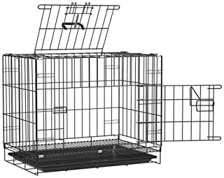 PSK PET MART Black 24 Inch Double Door Folding Metal cage with Removable Tray and paw Protector or Dogs, Cats and Rabbits