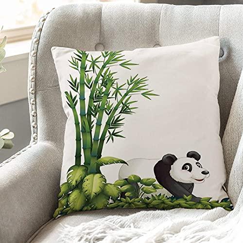Fundas de Cojines 45x45 cm Funda de Almohada para Decoracion Sofá,Panda, Panda feliz con plantas tropicales,Poliéster Moderna con Cremallera Invisible Funda de Cojin Decorativa para Cama Hogar, Coche
