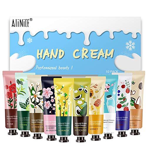 Handcremeset - Alinice 10er Pack Pflanzenduft Handcreme zur Pflege und Tiefenbefeuchtung von rauen Händen, Handlotion in Reisegröße
