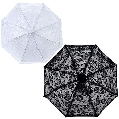 LONGBLE 2 stuks kanten parasol dames parasol bruidsscherm bruiloft paraplu, romantische party foto rekwisieten paraplu bruidsscherm lace paraplu paraplu paraplu parasol wit en zwart