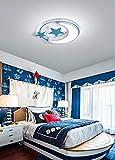 Lámpara de techo creativo de estrella y luna plafón elegante para dormitorio salón sala de juego iluminación de techo para infantil (Luz blanca, Azul 45cm)