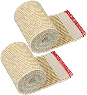 "GT Cotton Elastic Bandage w/Hook and Loop Closure on Both Ends, 3"" Width - 2 Pack"