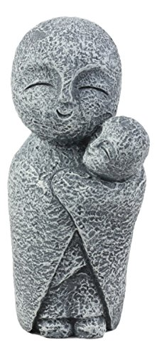 Ebros Decorative Japanese Buddha Jizo Bosatsu Monk Cradling A Baby Figurine 5' H Protector of Children Born and Unborn Talisman