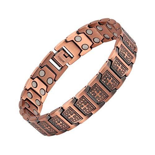 THE NORTH RING Men's Cross Symbol Christian Pure Copper Magnetic Therapy Adjustable Bracelet Relieve Arthritis and Carpal Tunnel Migraine Tennis Elbow Pain