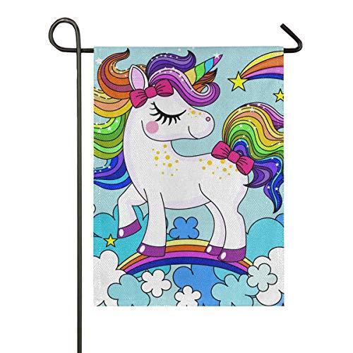 Garten Flagge Hof doppelseitige Banner Baby Einhorn Regenbogen Haarfarbe Indoor Geschenk Outdoor 28 x 40 Zoll