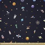 ABAKUHAUS Raumschiff Microfaser Stoff als Meterware, Sterne