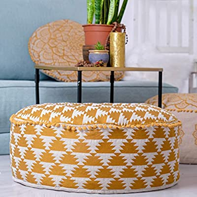 Mandala Life ART Bohemian Golden Pouf Ottoman Cover -24x8 inches - Luxury, Artisan Room Décor Pouffe for Meditation, Yoga, and Boho Chic Seating Area Stool– Accent Your Living Room, Bedroom