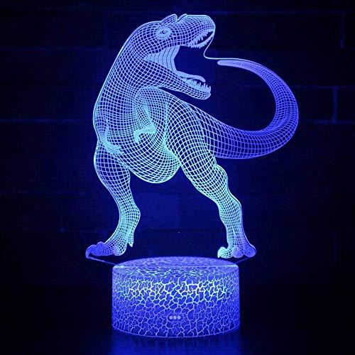 Luz de noche ilusión 3D luz de humor para niños Control remoto de 7 colores y luz de regalo de vacaciones con botón táctil - Dinosaurio animal