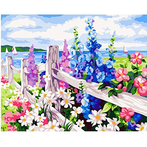 Vanzelu Frameloze afbeelding op Wandacryl olieverfschilderij door cijfers die door unieke cadeaukleur van de cijfers door de zee van de bloemen kenmerken 40x50 cm
