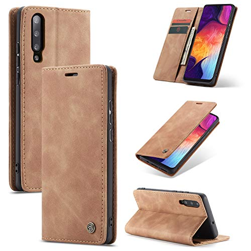 AKC Coque Compatible avec Samsung Galaxy A50/A50s/A30s Cover Cuir Housse Pochette Fonction Stand Ultra Mince Protection Antipoussière Case-Marron