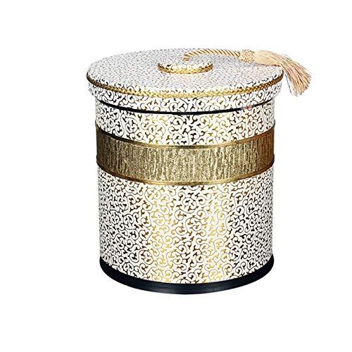 Pattumiera in pelle con coperchio, doppio secchio di carta di rifiuti, cestino rotondo della famiglia può 225mm volte; 270mm kshu