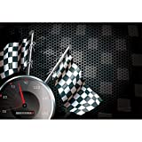 AOFOTO 7x5ft Speedometer Racing Chequered Flag Background Motorcycle Race Photography Backdrop Speed Automobile Formula One Motor Car Auto Motorsport Champion Sport Competition Studio Props Wallpaper