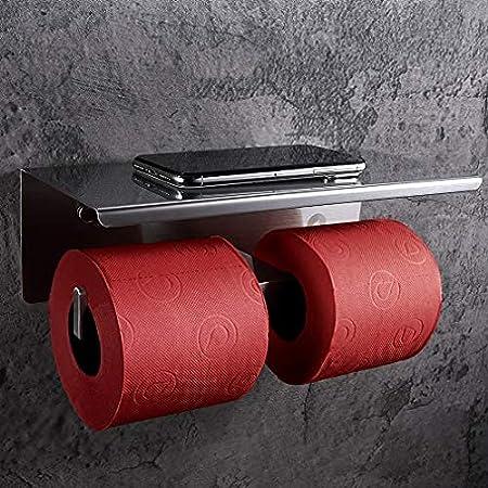 SimpleHome Porte Papier Toilette Double avec de la Colle en Acier Inoxydable, Porte Rouleau Toilette Murale avec étagère pour lingettes humides et Smartphone.