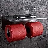SimpleHome Portarrollos de papel higiénico de acero inoxidable para 2 rollos sin taladrar, doble soporte para rollos de papel higiénico con bandeja para toallitas y teléfonos inteligentes.