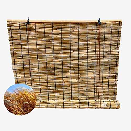 ZXCVBAS Estores De Bambú,Estor De Bambú,Persianas Enrollables De Bambú Transpirables con Parasol Opaco, Cortinas De Caña Tejidas A Mano Naturales Cortina De Paja,50x230cm/20x91in