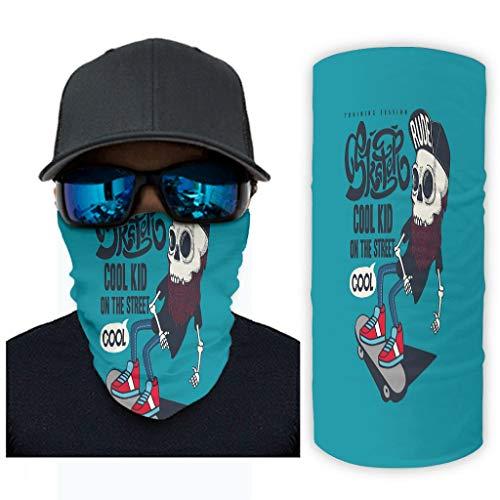 Sport Skateboard Zeichen 12 in 1 Nahtlos Kopfbedeckung für den Außenbereich Breite für Heißen Sommer Radfahren Wandern Angeln für Herren & Damen White OneSize