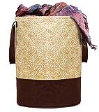 Kuber Industries Metalic Printed Waterproof Canvas Laundry Bag, Toy Storage, Laundry Basket Organizer 45 L (Brown) CTKTC034616