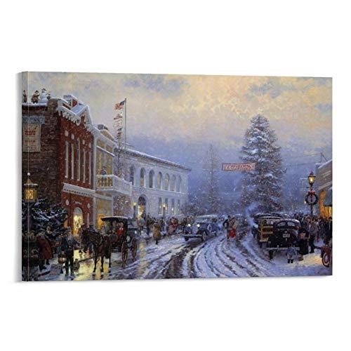 Kunstdrucke Wandkunst Thomas Kinkade Winter Weihnachtsbaum auf der Straße, Kunstwerk für Zuhause, Wanddekoration, 40 x 60 cm