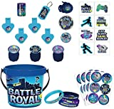 Party City Battle Royal Ultimate Party Favor Supplies for 8 Guests, Include Tattoos, Wristbands, Games, and Buckets