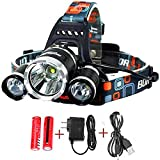 NEWEST LED Headlamp,10000 Lumens Camping Headlamp,Bright Head Lights,Waterproof Hard Hat Light,Fishing Headlamp,Hunting headlamp,4 Modes 3xCREE T6 Rechargeable Batterie,For Outdoor sports (Silver)