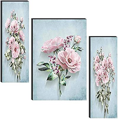 SAF Floral Set of 3 6MM MDF Panel Painting Digital Reprint 24 inch x 18 inch Painting (SANFWF25)(Multicolour,Floral)