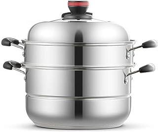 WOHAO Olla de Sopa Vapor Vapor Saucepot Grande Capa de Acero Inoxidable Multi Steamer, 2 Capas pequeño Vapor Cocina de inducción/Cocina de Gas/Gas Universal-26cm (Size : 28cm)