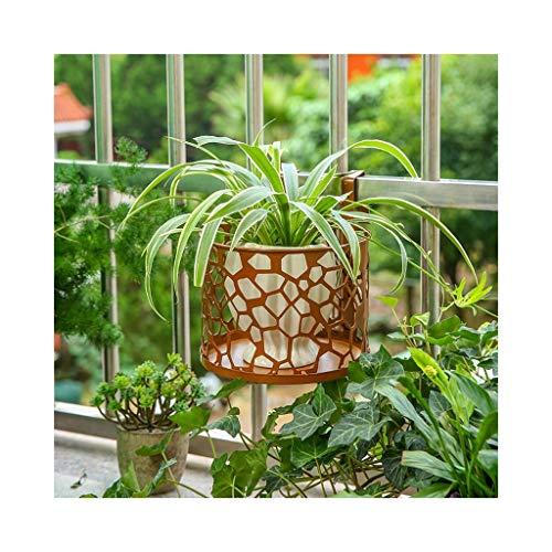 Unbekannt DE Blumenrahmen schmiedeeiserner Balkongeländer hängender Blumentopfständer Pflanzenständer (komplett installiert) (Color : Brown)