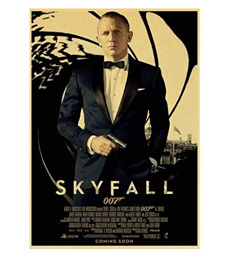 PCWDEDIAN Vintage James Bond Filmplakat 007 Retro Leinwand Wandplakat Für Zuhause/Raum/Bar Gemälde Wanddekoration F152 42X30Cm