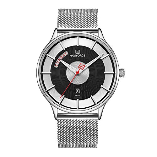 Men's Fashion Minimalist Waterproof Wrist Watch Analog Date Week with Stainless Steel Mesh Band