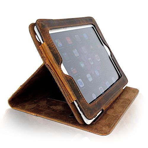 iPad Hülle Leder I Tablet Schutzhülle aus Echtleder für iPad 2 + iPad 3 + iPad 4 I Vintage Lederhülle mit Standfunktion I iPad Case Leder klappbar I Schutz vor Kratzern & Schmutz I IP14 Corno D'oro