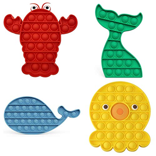 Kpopper Pop It Fidget Toys Fidget Pack, Pop Its Fidgets Push Pop Bubble Toy, Pop it Cheap, Simple Dimple Fidget Popper, Stress Toys, Bubble Fidget Toy, Sensory Fidget Toys, Autism Toy (4 Pack)