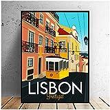 JLFDHR Cuadro De Lienzo De Viaje De Lisboa, Póster Artístico De Pared, Imagen Minimalista Moderna para Dormitorio, Decoración De Sala De Estar-50X70Cmx1 Sin Marco
